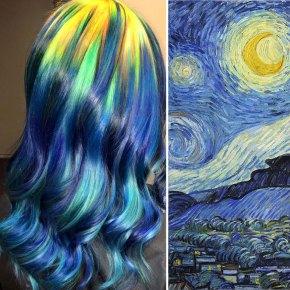 Una estilista convierte el cabello en lienzos de obras de arteclásicas